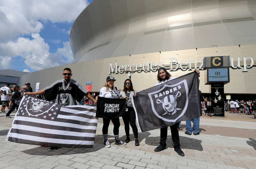 Sep 11, 2016; New Orleans, LA, USA; Oakland Raiders fans pose for a ...